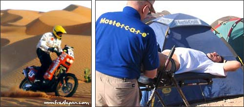 The Mastercare Back-A-Traction table in use by Frederic Lepan at the Dakar Ralley 2007
